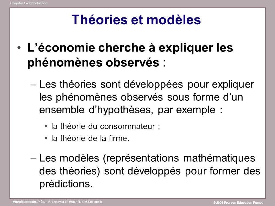 Microéconomie, 7 e éd. – R. Pindyck, D. Rubinfiled, M.Sollogoub ® 2009 Pearson Education France Chapitre 1 – Introduction Théories et modèles Léconomi