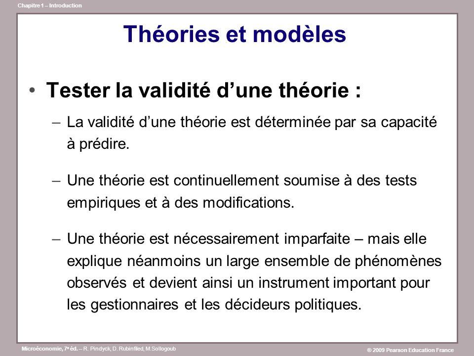 Microéconomie, 7 e éd. – R. Pindyck, D. Rubinfiled, M.Sollogoub ® 2009 Pearson Education France Chapitre 1 – Introduction Théories et modèles Tester l