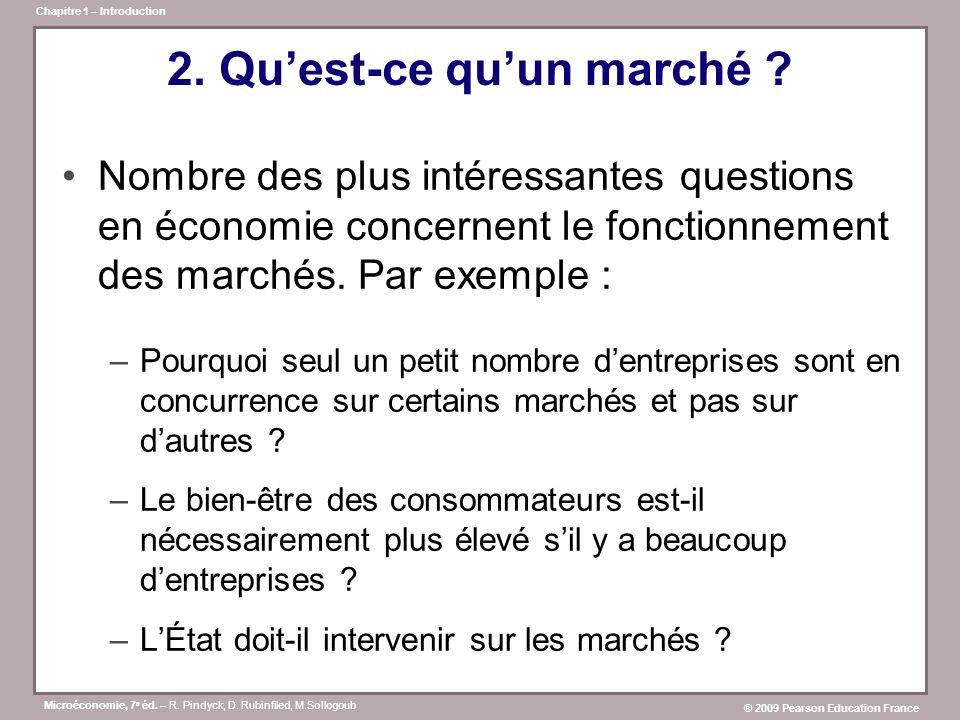 Microéconomie, 7 e éd. – R. Pindyck, D. Rubinfiled, M.Sollogoub ® 2009 Pearson Education France Chapitre 1 – Introduction 2. Quest-ce quun marché ? No