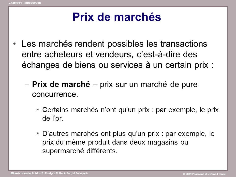 Microéconomie, 7 e éd. – R. Pindyck, D. Rubinfiled, M.Sollogoub ® 2009 Pearson Education France Chapitre 1 – Introduction Prix de marchés Les marchés