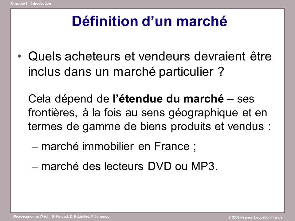 Microéconomie, 7 e éd. – R. Pindyck, D. Rubinfiled, M.Sollogoub ® 2009 Pearson Education France Chapitre 1 – Introduction Définition dun marché Quels