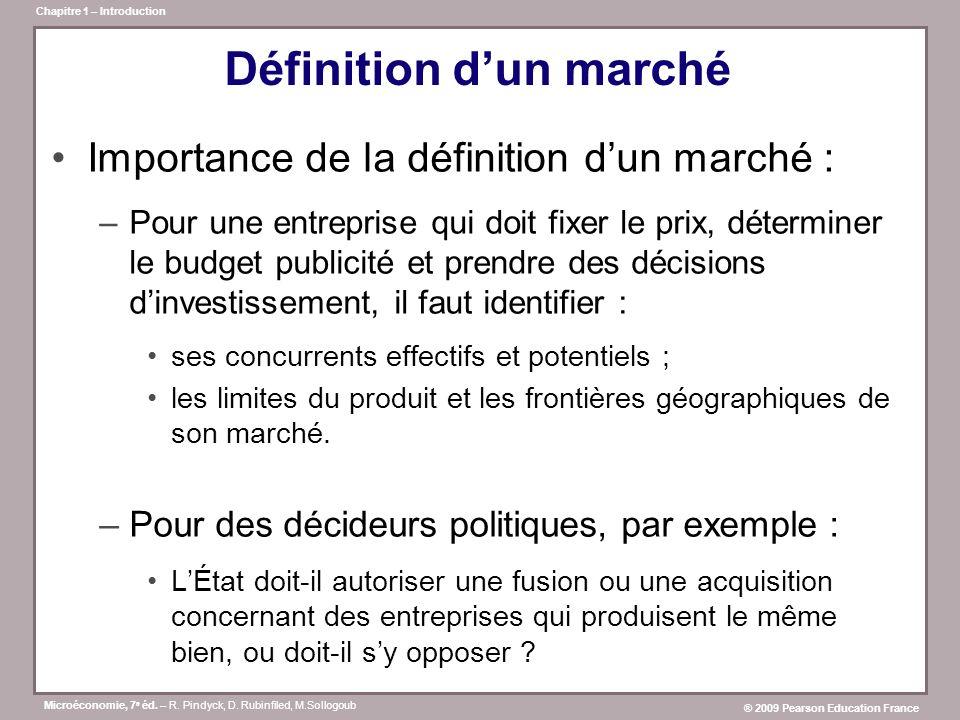 Microéconomie, 7 e éd. – R. Pindyck, D. Rubinfiled, M.Sollogoub ® 2009 Pearson Education France Chapitre 1 – Introduction Définition dun marché Import