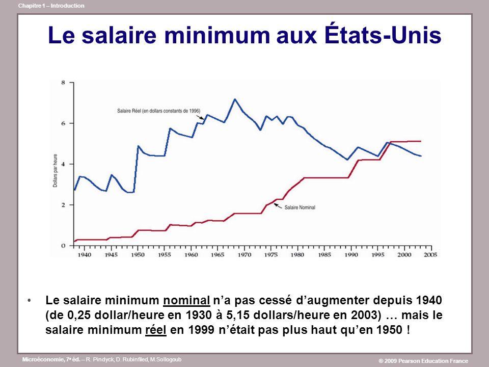 Microéconomie, 7 e éd. – R. Pindyck, D. Rubinfiled, M.Sollogoub ® 2009 Pearson Education France Chapitre 1 – Introduction Le salaire minimum aux États