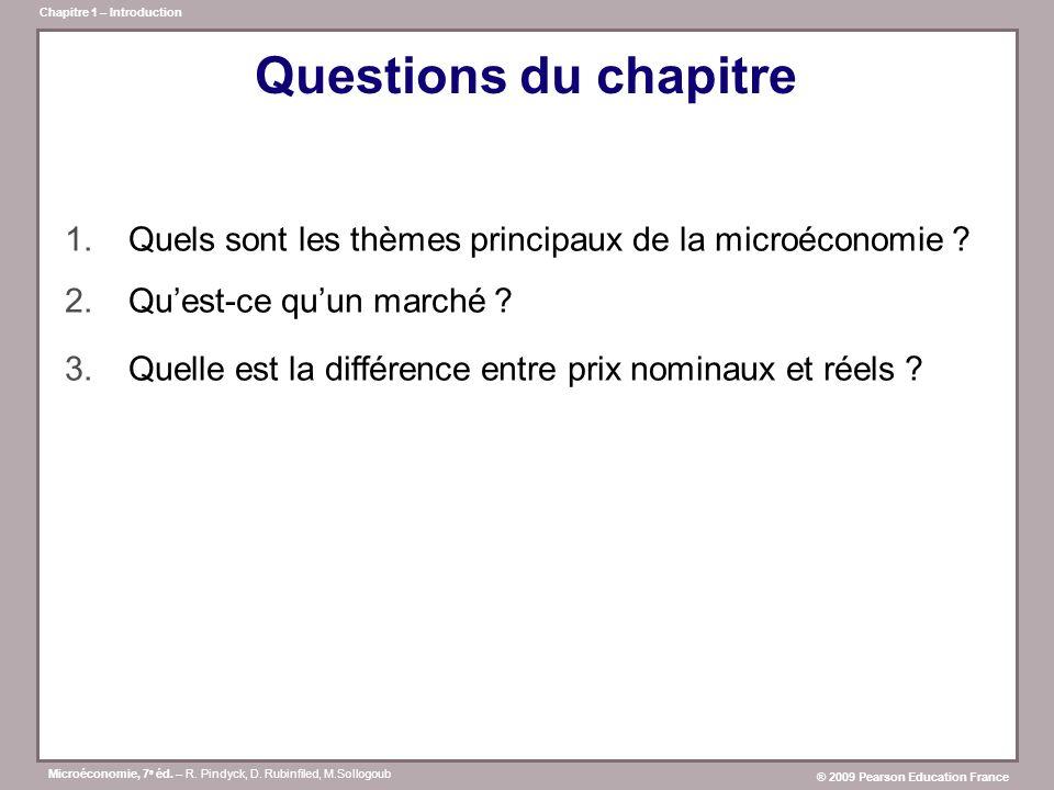 Microéconomie, 7 e éd. – R. Pindyck, D. Rubinfiled, M.Sollogoub ® 2009 Pearson Education France Chapitre 1 – Introduction Questions du chapitre 1.Quel