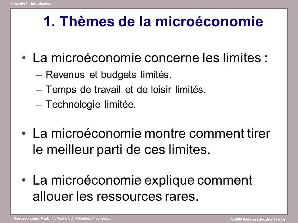 Microéconomie, 7 e éd. – R. Pindyck, D. Rubinfiled, M.Sollogoub ® 2009 Pearson Education France Chapitre 1 – Introduction 1. Thèmes de la microéconomi