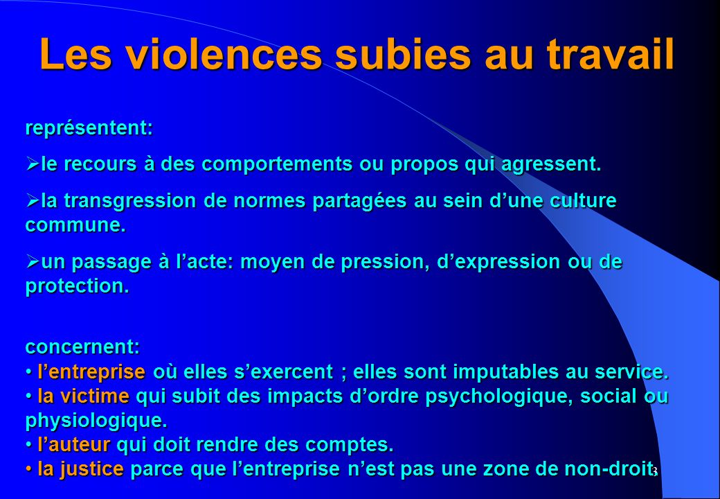 3 Les violences subies au travail représentent: le recours à des comportements ou propos qui agressent.