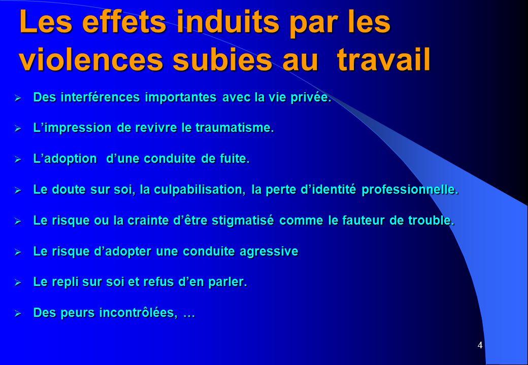 4 Les effets induits par les violences subies au travail Des interférences importantes avec la vie privée.
