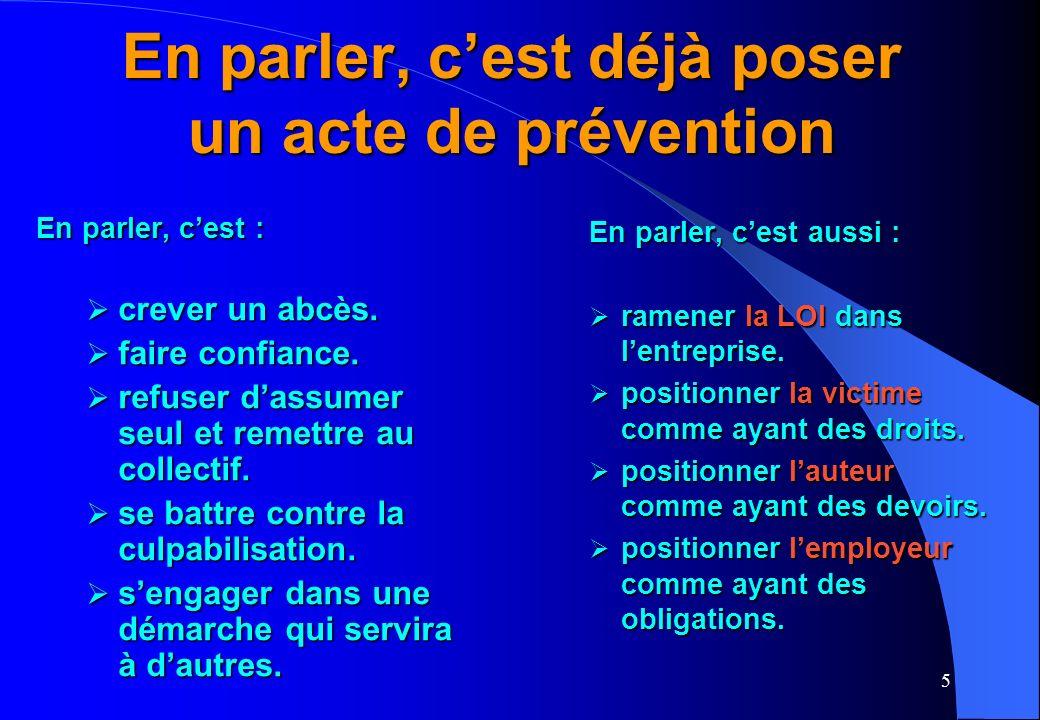 5 En parler, cest déjà poser un acte de prévention En parler, cest : crever un abcès.