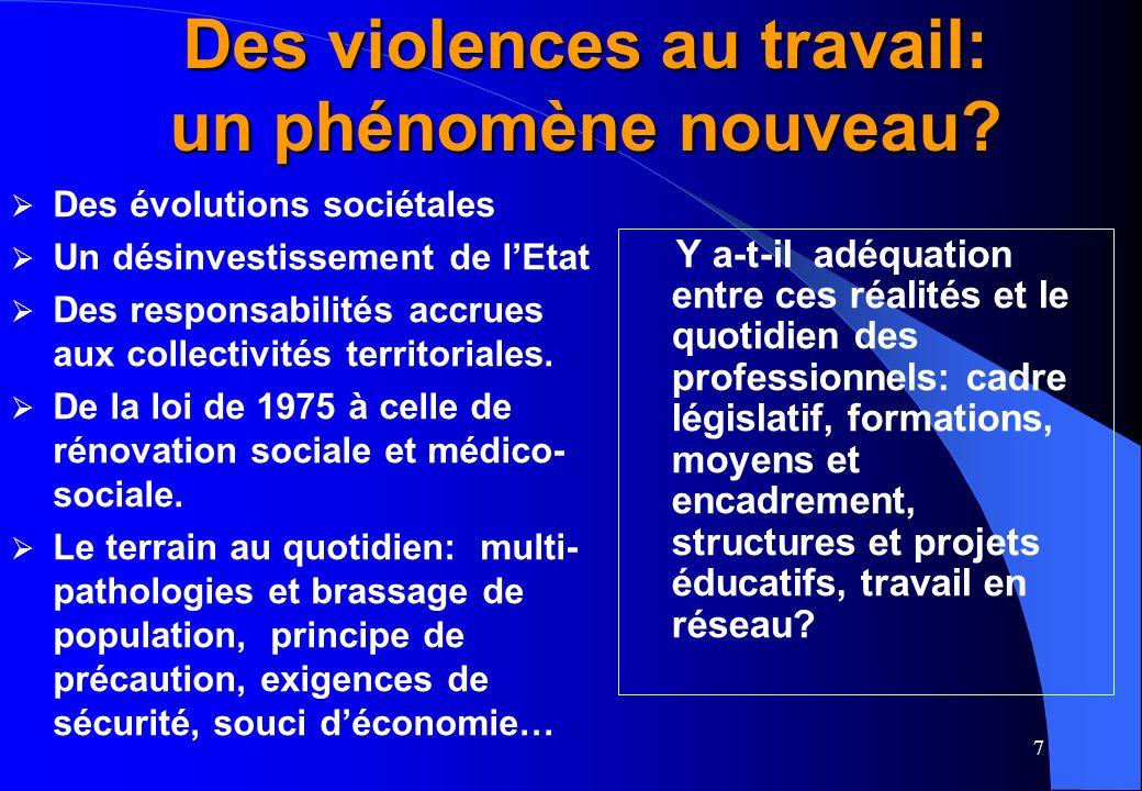 7 Des violences au travail: un phénomène nouveau.