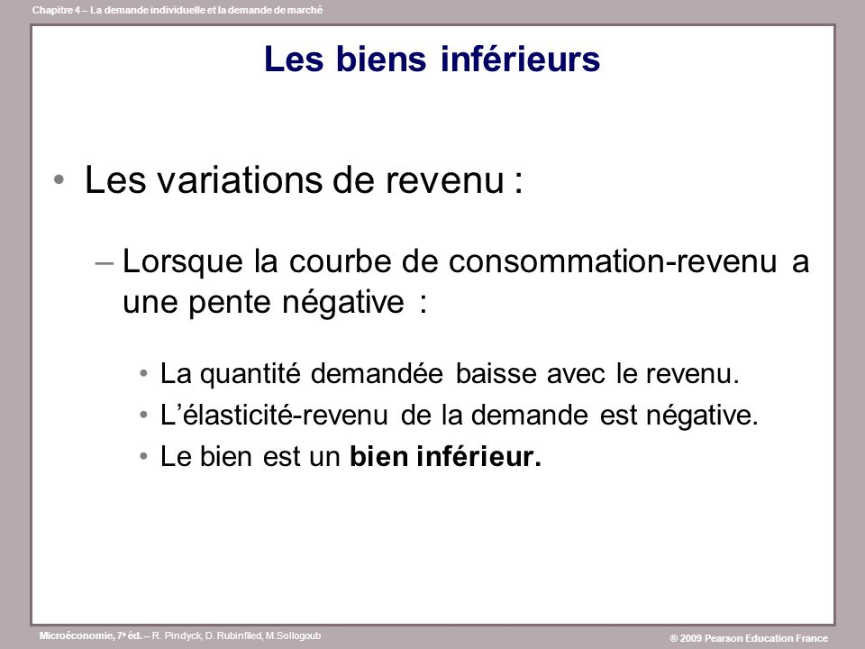 Microéconomie, 7 e éd. – R. Pindyck, D. Rubinfiled, M.Sollogoub ® 2009 Pearson Education France Chapitre 4 – La demande individuelle et la demande de