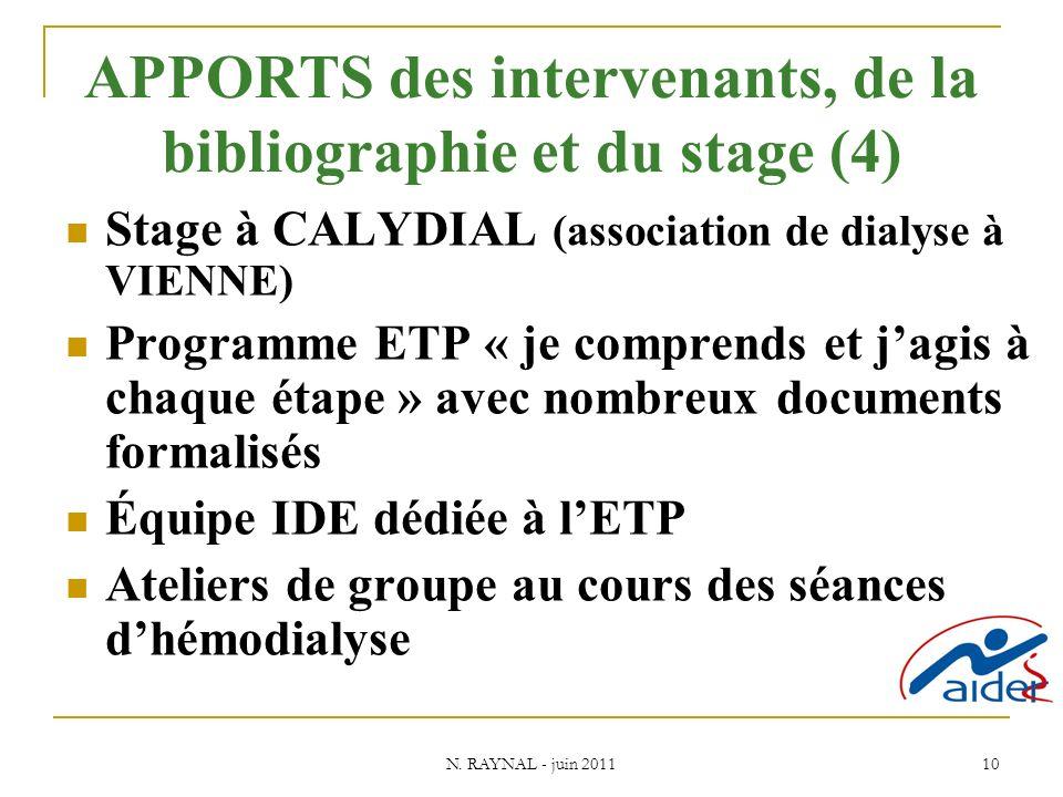 N. RAYNAL - juin 2011 10 APPORTS des intervenants, de la bibliographie et du stage (4) Stage à CALYDIAL (association de dialyse à VIENNE) Programme ET