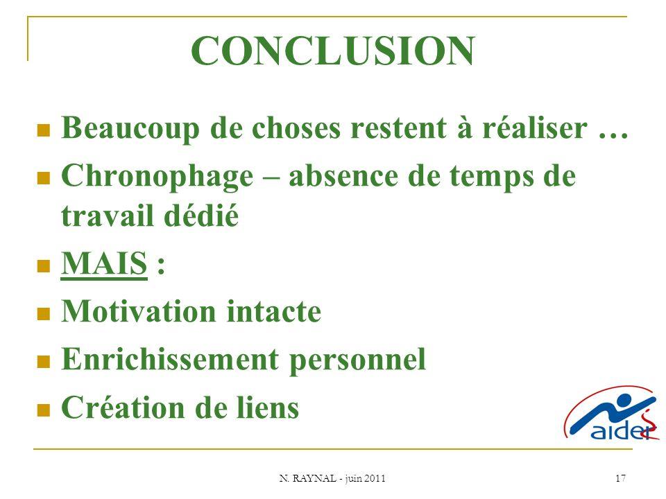 N. RAYNAL - juin 2011 17 CONCLUSION Beaucoup de choses restent à réaliser … Chronophage – absence de temps de travail dédié MAIS : Motivation intacte