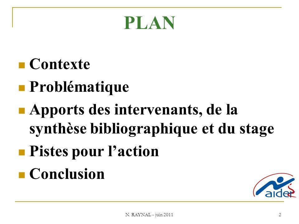 N. RAYNAL - juin 2011 2 PLAN Contexte Problématique Apports des intervenants, de la synthèse bibliographique et du stage Pistes pour laction Conclusio