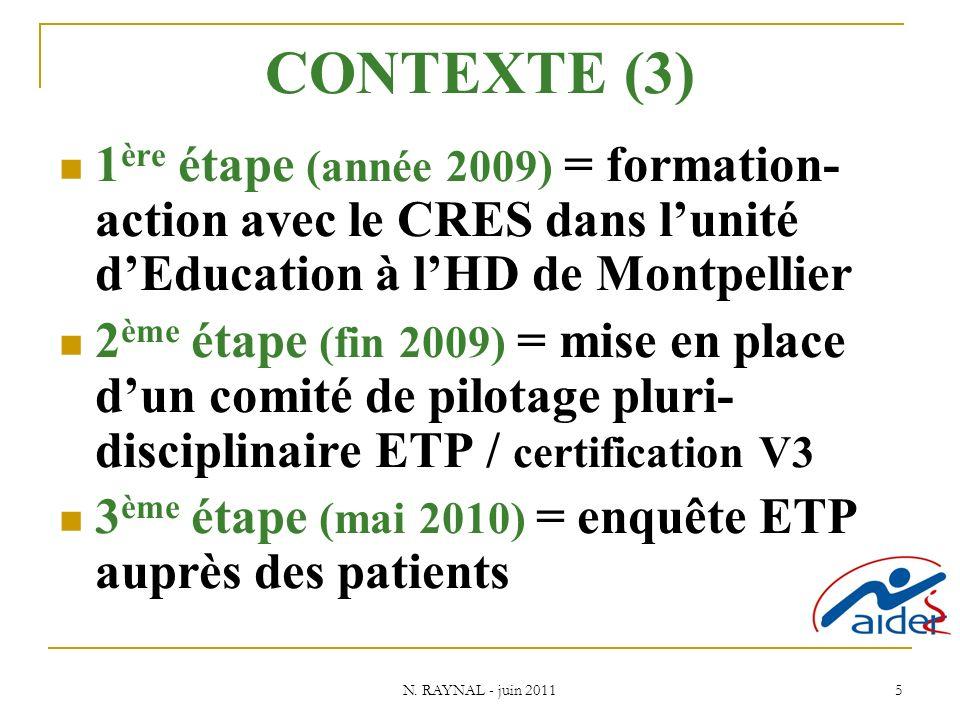 N. RAYNAL - juin 2011 5 CONTEXTE (3) 1 ère étape (année 2009) = formation- action avec le CRES dans lunité dEducation à lHD de Montpellier 2 ème étape