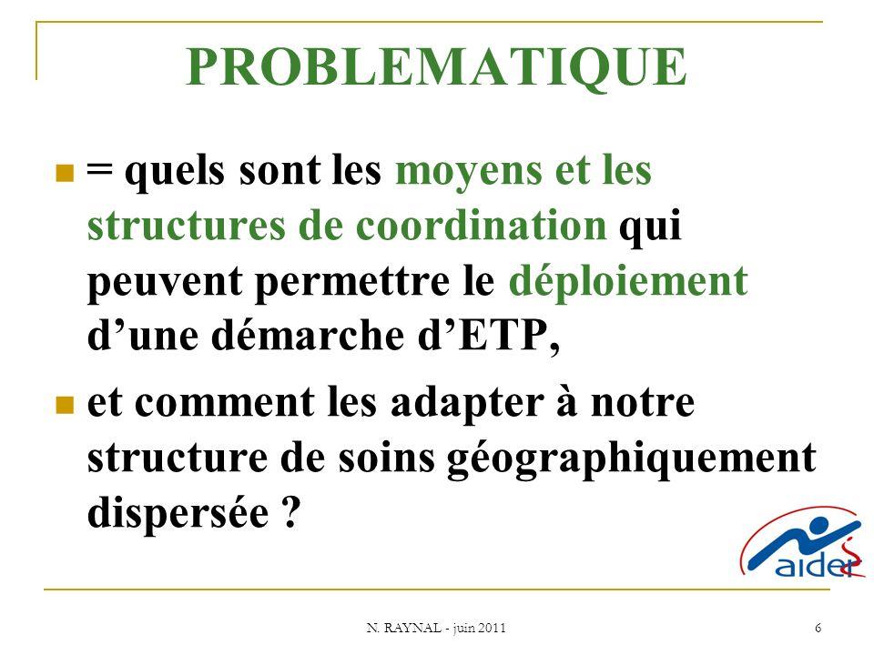 N. RAYNAL - juin 2011 6 PROBLEMATIQUE = quels sont les moyens et les structures de coordination qui peuvent permettre le déploiement dune démarche dET