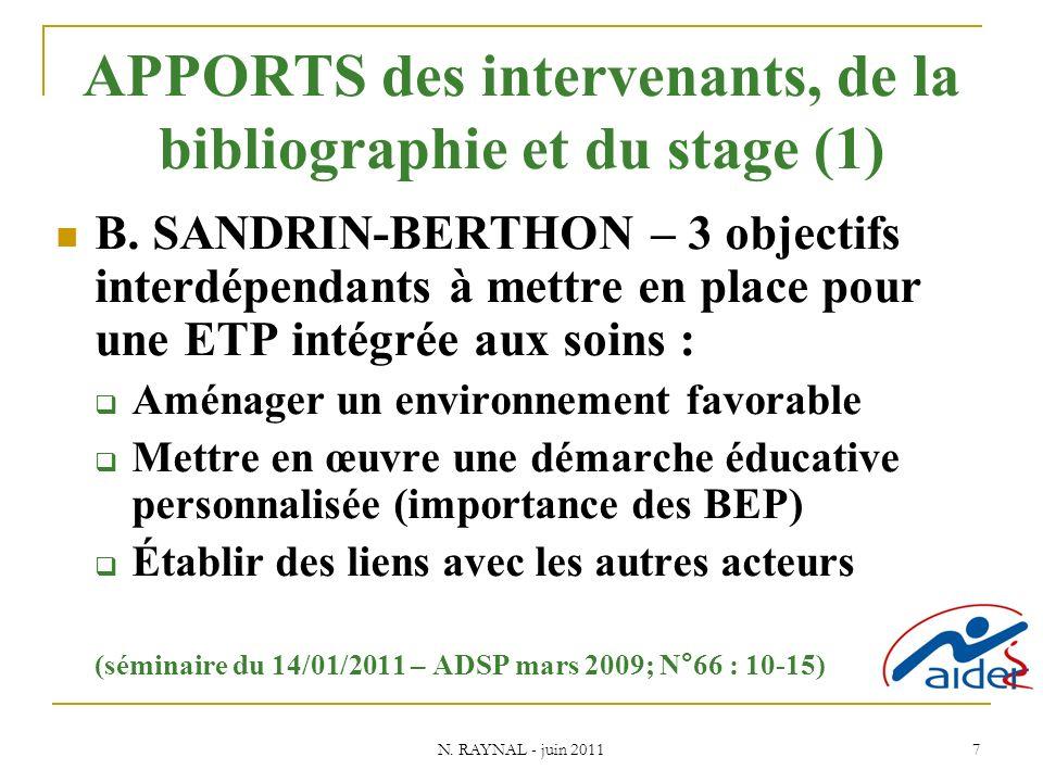 N. RAYNAL - juin 2011 7 APPORTS des intervenants, de la bibliographie et du stage (1) B.