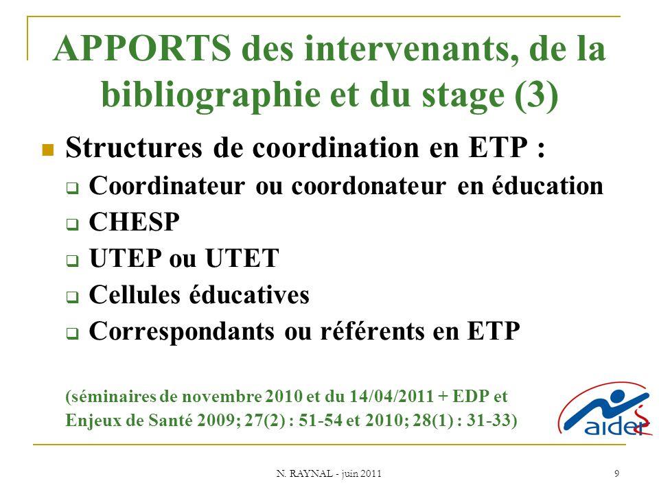 N. RAYNAL - juin 2011 9 APPORTS des intervenants, de la bibliographie et du stage (3) Structures de coordination en ETP : Coordinateur ou coordonateur