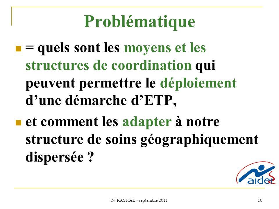 N. RAYNAL - septembre 2011 10 Problématique = quels sont les moyens et les structures de coordination qui peuvent permettre le déploiement dune démarc