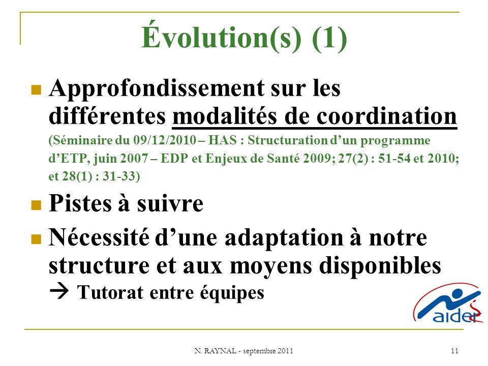 N. RAYNAL - septembre 2011 11 Évolution(s) (1) Approfondissement sur les différentes modalités de coordination (Séminaire du 09/12/2010 – HAS : Struct