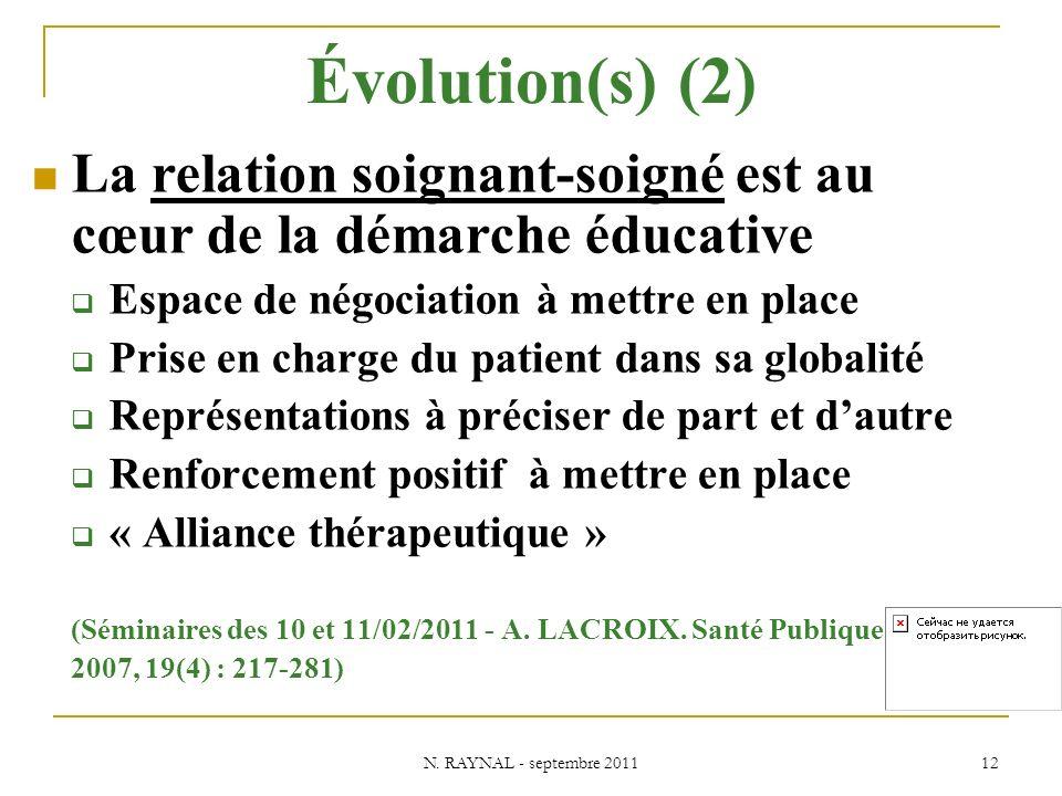 N. RAYNAL - septembre 2011 12 Évolution(s) (2) La relation soignant-soigné est au cœur de la démarche éducative Espace de négociation à mettre en plac