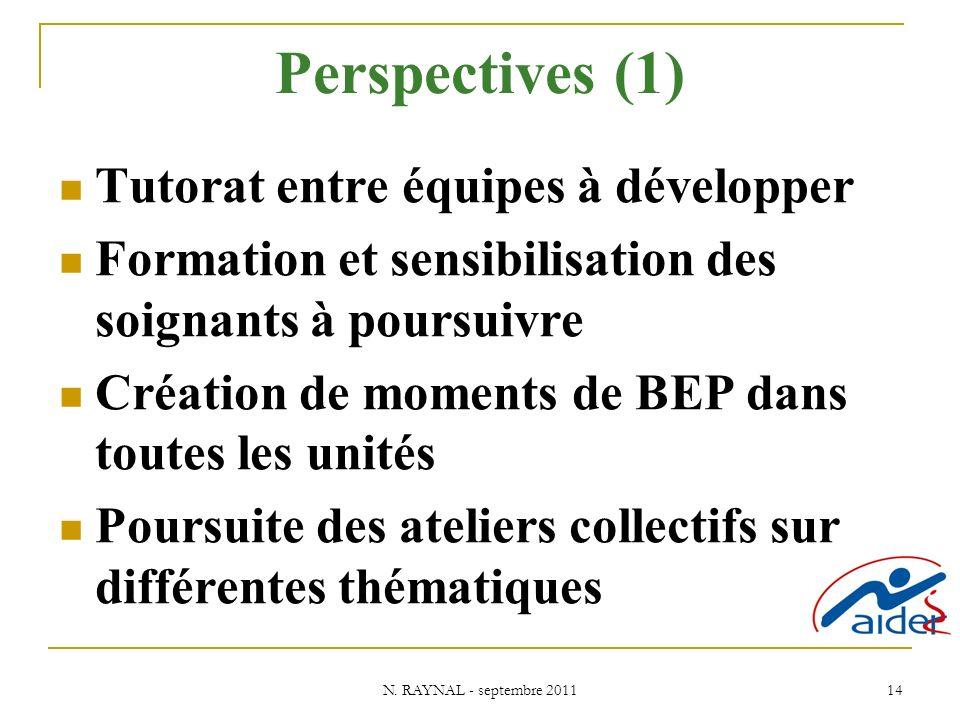 N. RAYNAL - septembre 2011 14 Perspectives (1) Tutorat entre équipes à développer Formation et sensibilisation des soignants à poursuivre Création de
