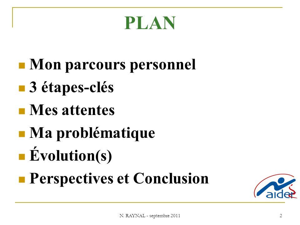 N. RAYNAL - septembre 2011 2 PLAN Mon parcours personnel 3 étapes-clés Mes attentes Ma problématique Évolution(s) Perspectives et Conclusion