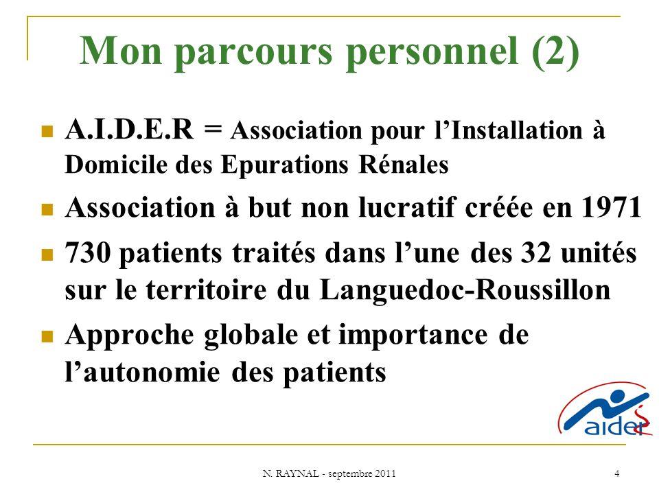 N. RAYNAL - septembre 2011 4 Mon parcours personnel (2) A.I.D.E.R = Association pour lInstallation à Domicile des Epurations Rénales Association à but