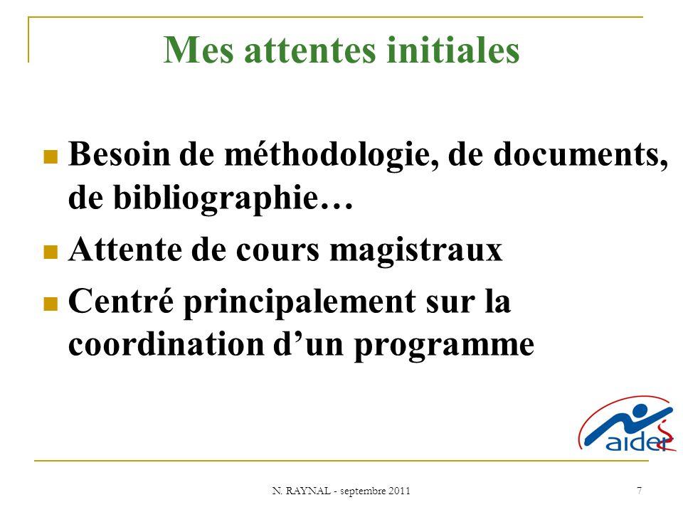 N. RAYNAL - septembre 2011 7 Mes attentes initiales Besoin de méthodologie, de documents, de bibliographie… Attente de cours magistraux Centré princip