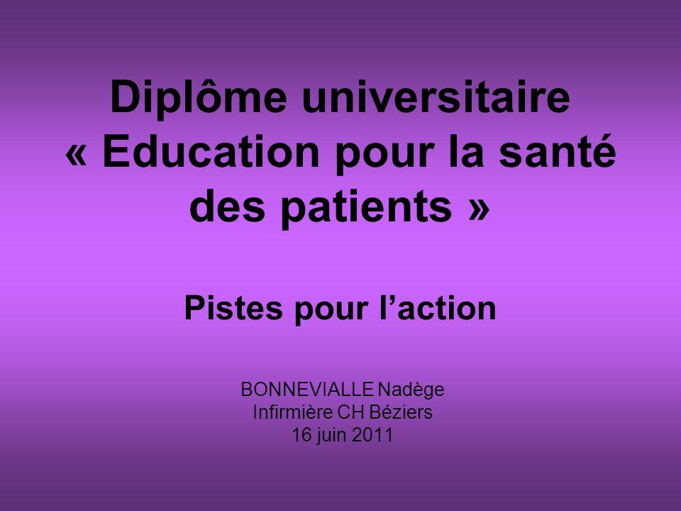 Diplôme universitaire « Education pour la santé des patients » Pistes pour laction BONNEVIALLE Nadège Infirmière CH Béziers 16 juin 2011