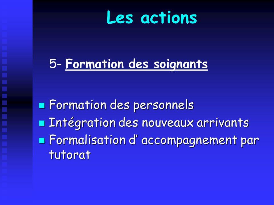 Les actions Formation des personnels Formation des personnels Intégration des nouveaux arrivants Intégration des nouveaux arrivants Formalisation d ac