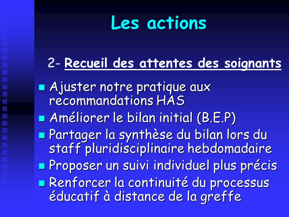 Les actions Ajuster notre pratique aux recommandations HAS Ajuster notre pratique aux recommandations HAS Améliorer le bilan initial (B.E.P) Améliorer