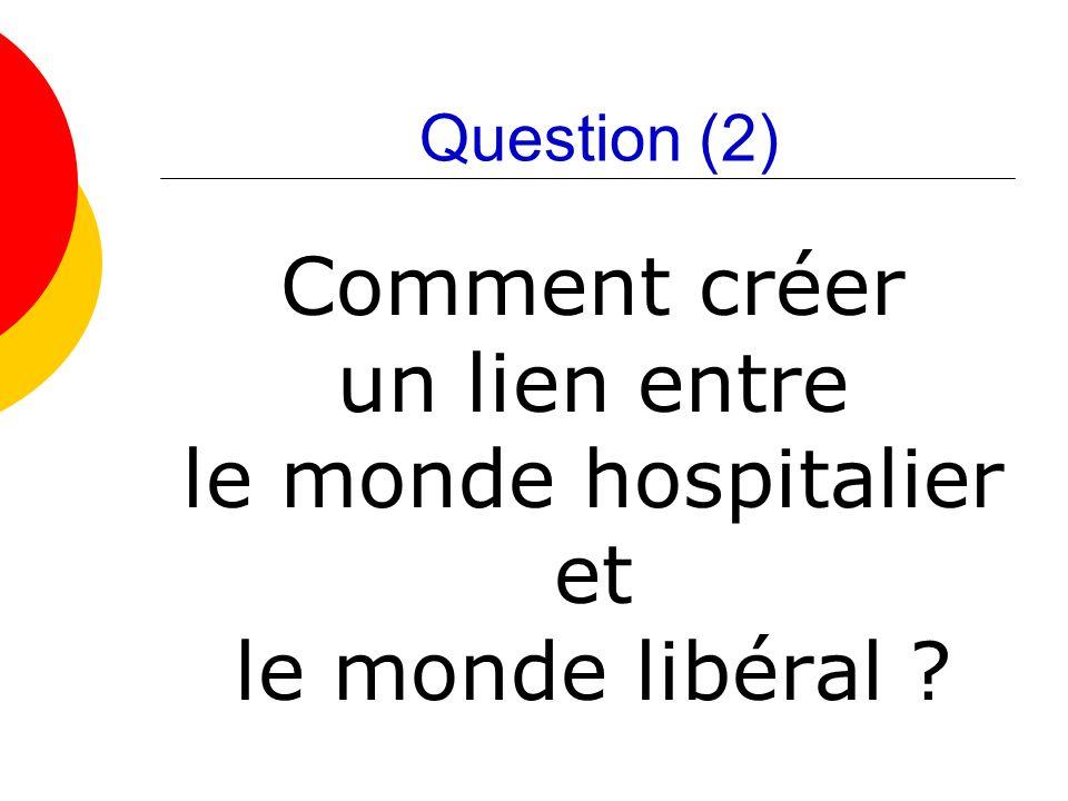 Question (2) Comment créer un lien entre le monde hospitalier et le monde libéral ?