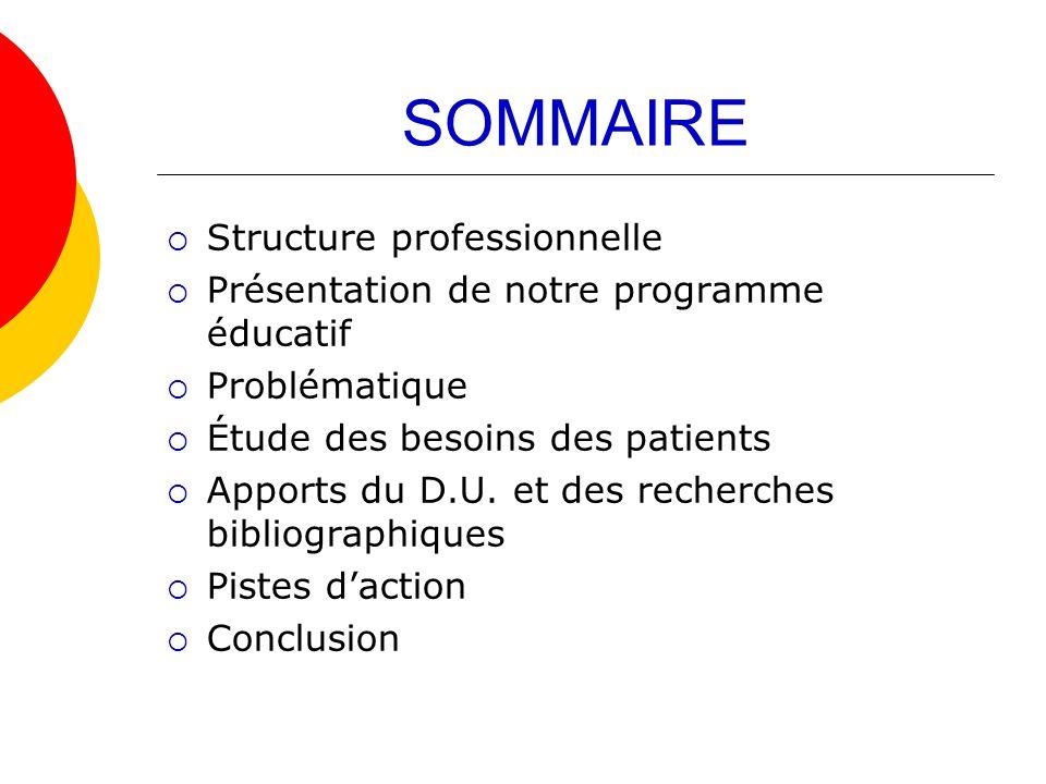 SOMMAIRE Structure professionnelle Présentation de notre programme éducatif Problématique Étude des besoins des patients Apports du D.U. et des recher