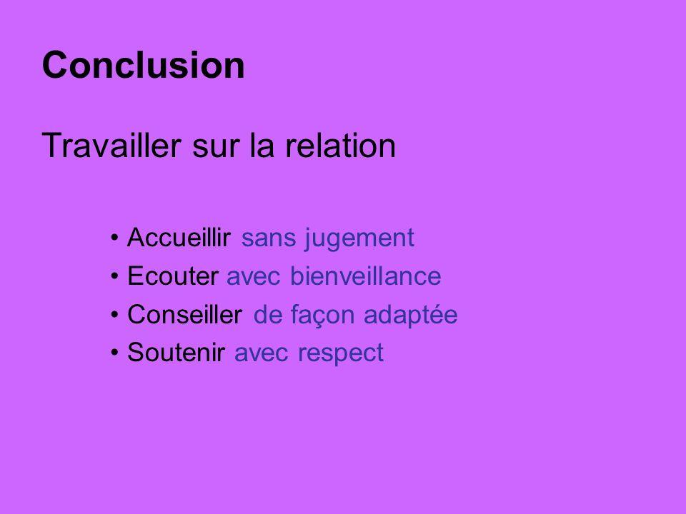 Conclusion Travailler sur la relation Accueillir sans jugement Ecouter avec bienveillance Conseiller de façon adaptée Soutenir avec respect