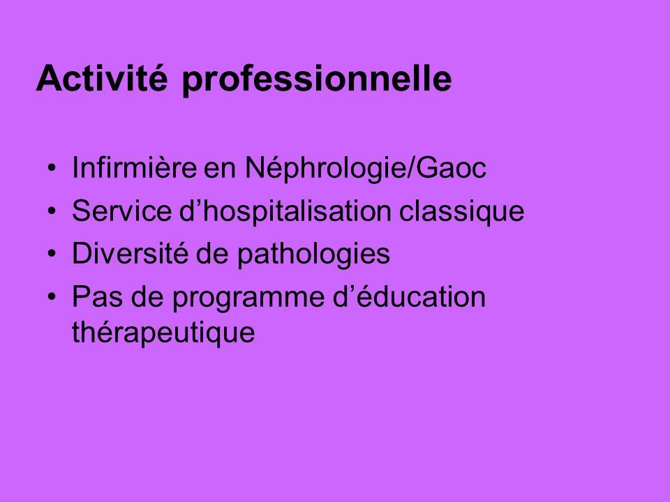 Activité professionnelle Infirmière en Néphrologie/Gaoc Service dhospitalisation classique Diversité de pathologies Pas de programme déducation thérap