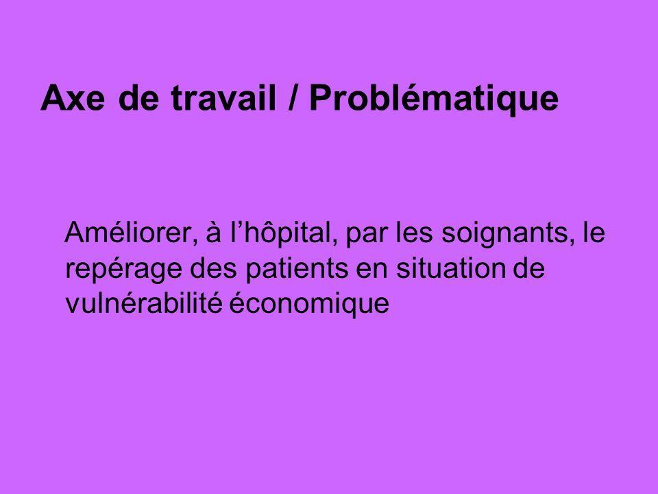 Axe de travail / Problématique Améliorer, à lhôpital, par les soignants, le repérage des patients en situation de vulnérabilité économique