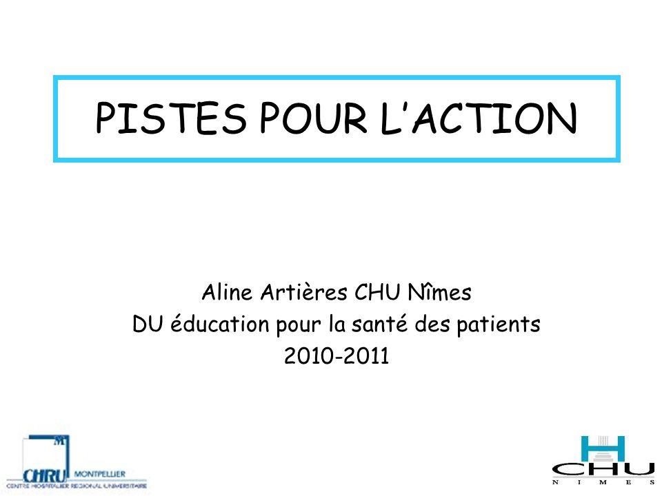 PISTES POUR LACTION Aline Artières CHU Nîmes DU éducation pour la santé des patients 2010-2011