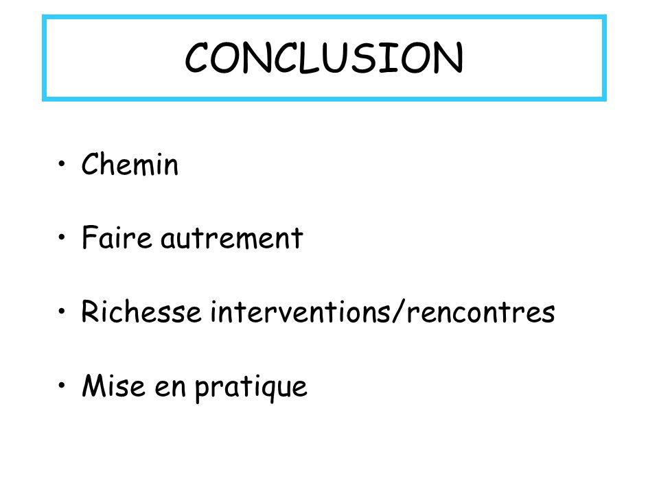 CONCLUSION Chemin Faire autrement Richesse interventions/rencontres Mise en pratique