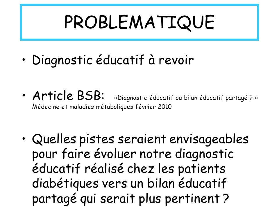 PROBLEMATIQUE Diagnostic éducatif à revoir Article BSB: «Diagnostic éducatif ou bilan éducatif partagé ? » Médecine et maladies métaboliques février 2