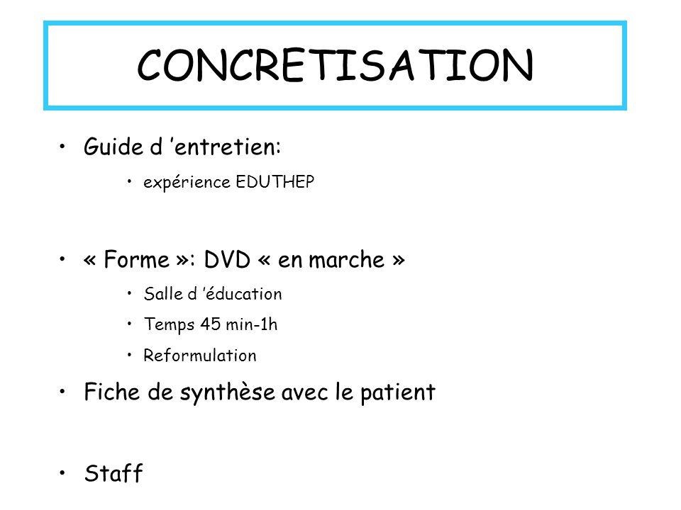 CONCRETISATION Guide d entretien: expérience EDUTHEP « Forme »: DVD « en marche » Salle d éducation Temps 45 min-1h Reformulation Fiche de synthèse avec le patient Staff