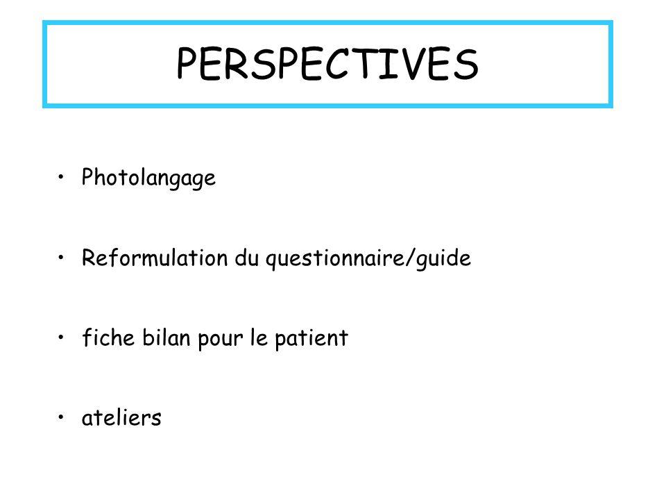 PERSPECTIVES Photolangage Reformulation du questionnaire/guide fiche bilan pour le patient ateliers
