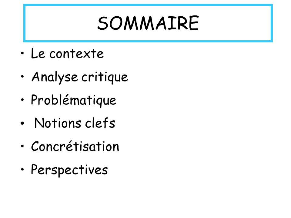 SOMMAIRE Le contexte Analyse critique Problématique Notions clefs Concrétisation Perspectives