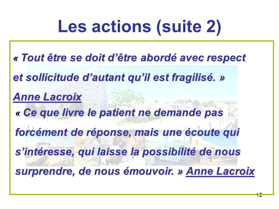 12 Les actions (suite 2) « Tout être se doit dêtre abordé avec respect et sollicitude dautant quil est fragilisé. » Anne Lacroix « Ce que livre le pat