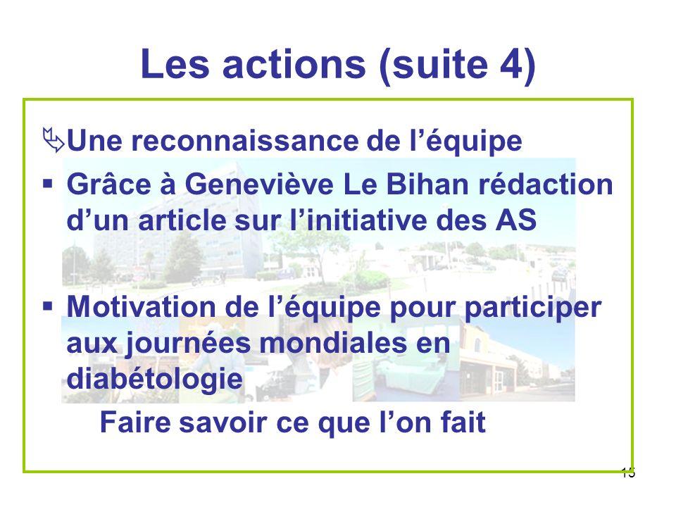 15 Les actions (suite 4) Une reconnaissance de léquipe Grâce à Geneviève Le Bihan rédaction dun article sur linitiative des AS Motivation de léquipe p