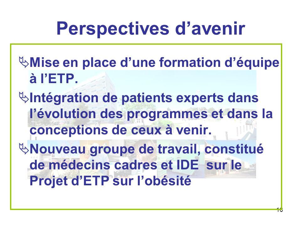 16 Perspectives davenir Mise en place dune formation déquipe à lETP. Intégration de patients experts dans lévolution des programmes et dans la concept