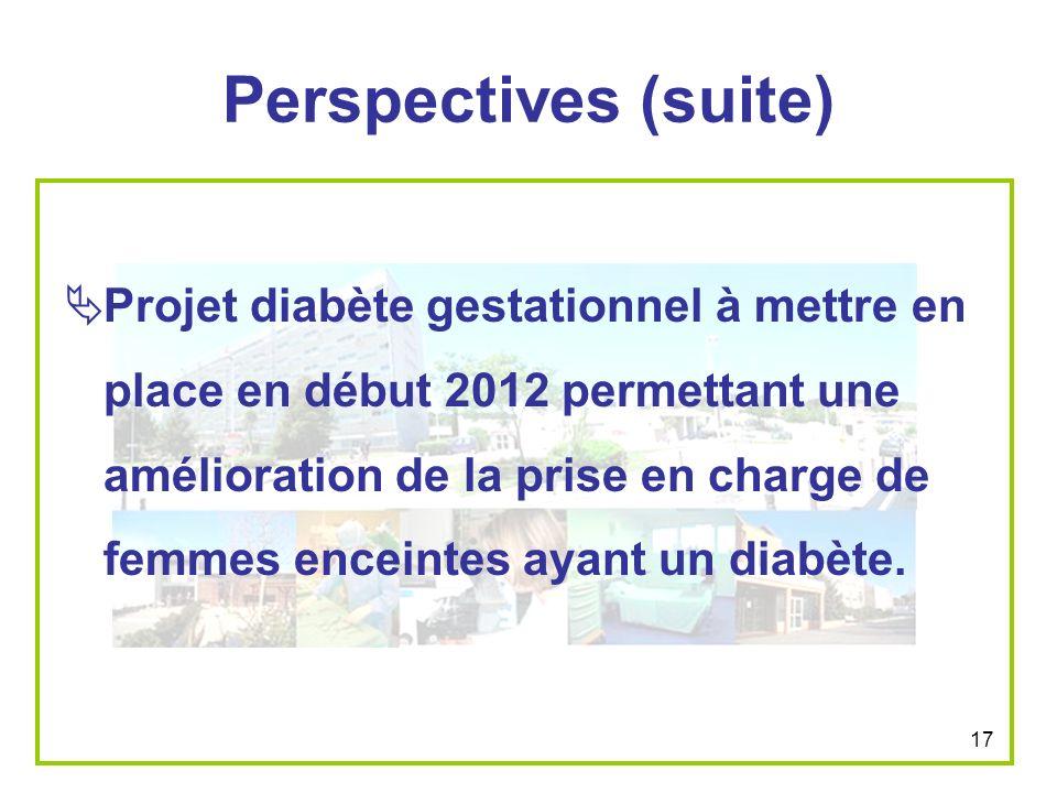 17 Perspectives (suite) Projet diabète gestationnel à mettre en place en début 2012 permettant une amélioration de la prise en charge de femmes encein