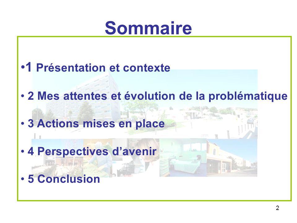 2 Sommaire 1 Présentation et contexte 2 Mes attentes et évolution de la problématique 3 Actions mises en place 4 Perspectives davenir 5 Conclusion