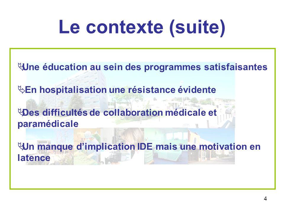 4 Le contexte (suite) Une éducation au sein des programmes satisfaisantes En hospitalisation une résistance évidente Des difficultés de collaboration