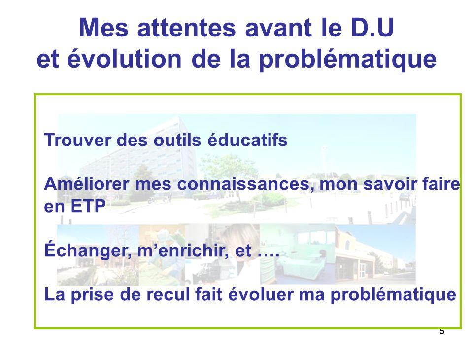 5 Mes attentes avant le D.U et évolution de la problématique Trouver des outils éducatifs Améliorer mes connaissances, mon savoir faire en ETP Échange