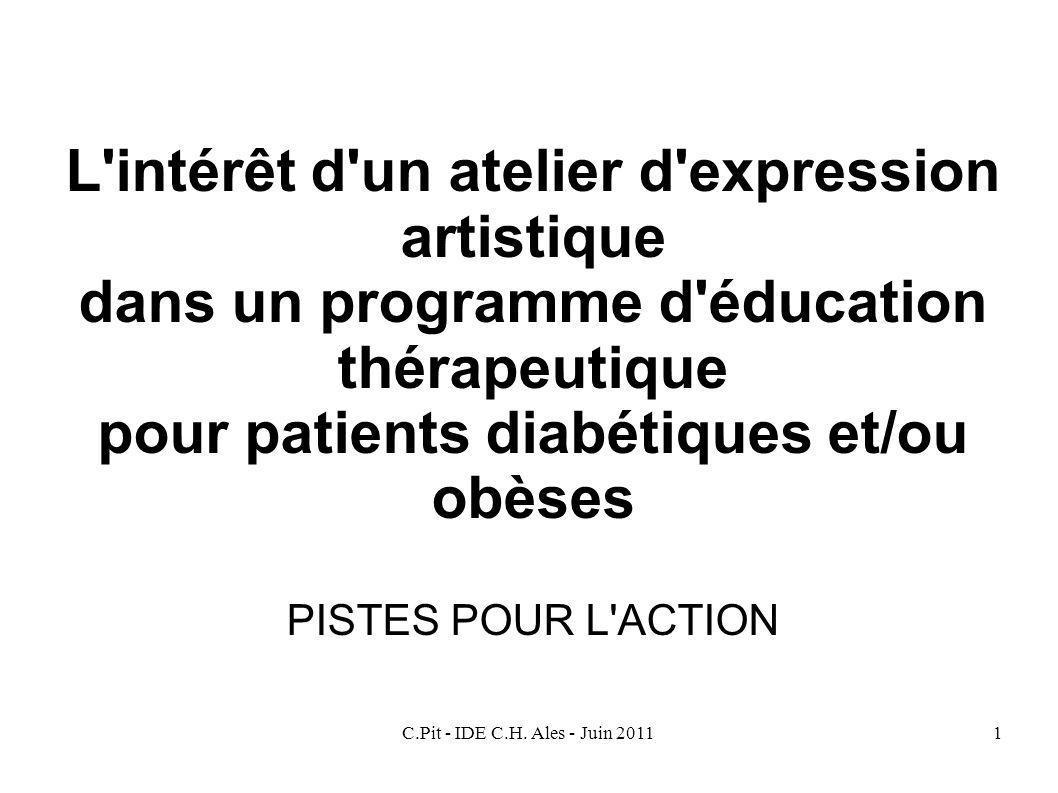 C.Pit - IDE C.H. Ales - Juin 20111 L'intérêt d'un atelier d'expression artistique dans un programme d'éducation thérapeutique pour patients diabétique
